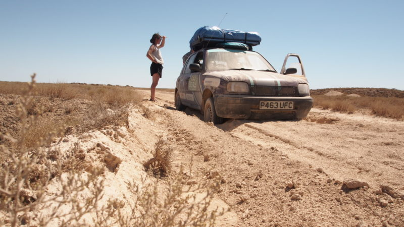 Sam and His Team Stuck in the Dirt During The Mongol Rally